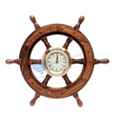 Premium Nautical Hand Crafted Brass Time's Clock Wooden Ship Wheel | Pirate's Wall Decor | Home Decorative Gifts | Nagina International