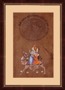 Mughal Period Love Scene 'Royal Rajput Lovers Dhola Maru riding on Camel' Indian Miniature Painting on 100 Year Old Court Stamp Paper with Moulded Framing