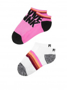 Victoria's Secret PINK Ultimate No-Show Socks- Neon Princess / White Stripe