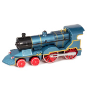 Blue Cast Metal Classic Train Toy with Sounds and Lights