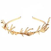 Fashion Luxury Golden Antlers Hair Hoop Romantic Three-dimensional Headband Hair Band for Women Girls Best Christmas Jewellery