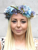 Turquoise Blue Grey Berry Floral Hair Crown Flower Headband Garland Wreath 1347 *EXCLUSIVELY SOLD BY STARCROSSED BEAUTY*