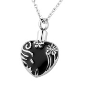 HooAMI Cremation Jewellery Stainless Steel Heart Pendant Necklace Memorial Urn Locket Ashes Keepsake Engraved Service