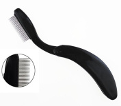 Professional Black Mini Folding Stainless Steel Teeth Eyelash Comb-- Portable Eyebrow Brush Mascara Comb Lash Shaper Brow Groomer and Brow Makeup Brush Beauty Tool