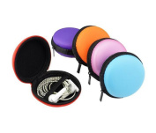 6PCS Portable Earphone Carrying Case-- Round Macaroon Hard Case Earbuds Pocket Collection Box for Earphone Headphone Cable Jewellery Storage Container Bag