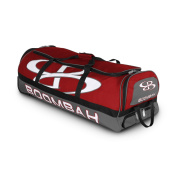 Boombah Brute Rolling Baseball / Softball Bat Bag - 90cm x 38cm x 30cm - 1.3cm - Red/Grey - Holds 4 Bats and Room for Gear - Wheeled Bag