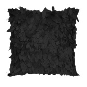 Pu Ran® Leaves Feather Couch Cushion Cover Home Decor Sofa Throw Pillow Case - Black