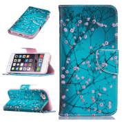 iPhone 7 Case,iPhone 7 Leather Wallet Case Plum Flower,Felfy Colourful Pattern Premium Folio Leather Wallet Case for iPhone 7,Flip PU Leather Bookstyle Stand Case with Magnetic Closure Credit Card Holder Slots Cover Case for Apple iPhone 7 12cm wit ..