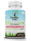 ORGANIC Ashwagandha Root Powder Capsules | 100% Natural Ayurvedic Adaptogenic Herb | Premium Quality Superfood, Suitable for Vegetarians and Vegans | UK Organic Certified | 120 Ashwagandha Capsules by TheHealthyTree Company