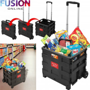 25KG FOLDING SHOPPING TROLLEY WHEELED LUGGAGE STORAGE CART FOLDABLE BOOT BOX CAR FUSION