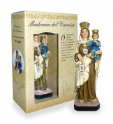 Statue of Madonna of the Carmine of Height 12 cm with Bookmark in Gift Box
