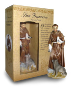 Statue of St. Francis of Height 12 cm with Bookmark in Gift Box