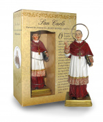 San Carlo of Statue Height 12 cm with Bookmark in Gift Box