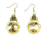 Festive Fun Novelty Christmas Ornament Bauble Drop Earrings Gold