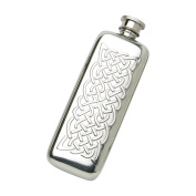 Edwin Blyde & Co Plain Boot Design with Traditional Celtic Rope Embossing and Soft Corner Shape Spirit Flask, Pewter, 90ml