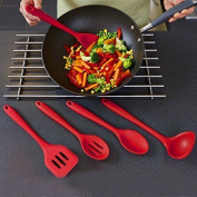VALINK 5Pcs Silicone Kitchen Cooking/Baking Utensils Tools Set, Spatulas, Spoons, Turner - Heat Resistant, Non-stick, Cooking Utensil - Red