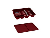 DISH DRAINER WITH DRAINER TRAY PLASTIC SINK PLATE RACK (Red) by Wham