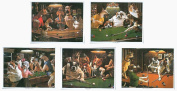 Iqgamesroom classic prints Homegames Pool Table Pictures Dogs Playing Pool 5 X Iconic Prints