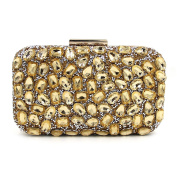 Flada Luxury Rhinestone Clutch Purse for Women Evening Clutch Bags with Chain Gold