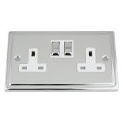 Socket 2 Gang - Polished Chrome - Trimline - White Insert Metal Switch - 13A Double Wall Plug Socket