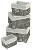 Set of 4 storage baskets - Wicker look - Colour GREY and OFF-WHITE