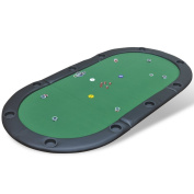 Anself Foldable Poker Tabletop 10-Player with Leather Armrest Green