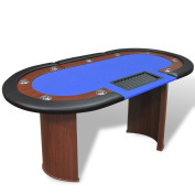 Anself 10-Player Poker Table with Dealer Area and Chip Tray Blue