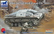 Bronco Models CB35116 Model Kit WWII German StuG III Ausf C/D with 75 mm STUK 37/L24 & 75 mm STUK40/L48 (2in1),