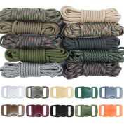 Zesty 230kg Survival Paracord Combo Crafting Kit by West Coast Paracord - 10 Colours of 230kg Cord & 10 FREE buckles - Type III Paracord - Make 10 Paracord bracelets-Great Gift