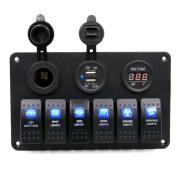 Koolee Digital Voltmeter 12V 24V System Power Socket Aluminium 6 Gang Switch Panel Black For Car Boat