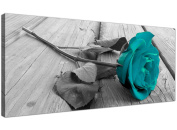Modern Black and White Canvas Wall Art of a Teal Rose Flower - Large Floral Canvas Pictures - 1037 - Wallfillers®