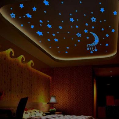 Kingko® A Set Fluorescence Moon Star Glow in Dark Luminous Star Nursery Kids Baby Room Wall Sticker Home Decal