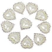 10pcs Heart White Faux Pearl Button Flatback Embellishment 20mm x 25mm