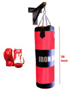 Heavy MMA Boxing Punch Bag w/ Black Wall Bracket Mount Hanger with Iron Hook and Boxing Gloves