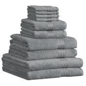 Dreamscene Luxury 100% Egyptian Cotton 10 Piece Bathroom Towel Bale Face Bath Hand Gift Set, Silver Grey, 10-Piece