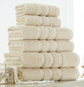 100% cotton 6pc towels set plain striped luxury bale 600 GSM new soft supreme quality