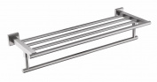 QT Premium Modern Single Hanging Quadruple Towel Rack Bar w/ Square Base (61 cm) - Brushed Finish, Made from Stainless Steel, Water and Rust Proof, Wall Mounted, Easy to Instal