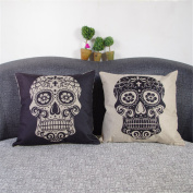 "Luxbon Set of 2 Pcs Day of the Dead Mexico Fiesta Mexcan Sugar Skull Cushion Cover Durable Cotton Linen Throw Pillow Case Home Decor for Halloween18""X18"" 45x45cm"