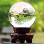 BTSKY™ Clear Crystal Ball With Wooden Stand For Photography Or Display