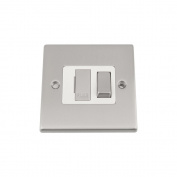Fused Switch - Satin Matt Chrome Square - White Insert Metal Rocker Switch - 13 Amp Switched Fused Spur Unit