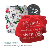 "Baby Tooshy Cloth Nappy Covers with DOUBLE Gussets. Waterproof, Adjustable & Reusable. One Size for Prefolds/ Flats/ Inserts. Set has 1 Embroidered ""Cloth on my bum..."" & 1 Patterned Cover. Huggybear"