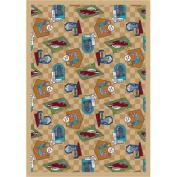 Joy Carpets Kaleidoscope Fabulous Fifties Whimsical Area Rugs, 160cm by 230cm by 0.9cm , Beige