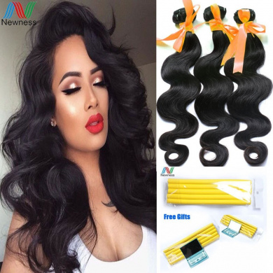 Newness 7A Indian Virgin Hair Body Wave 3 Bundles Indian Virgin Hair Extension Human Hair Weave Bundles Mixed Length