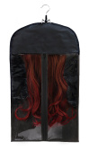 Bags for Less Hair Extensions Carrier and Storage+ Black Wooden hanger for Virgin hair and clip- in extentions