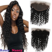 Rossy & Nancy Brazilian 8A Grade Human Hair Lace Frontals 33cm x 15cm Deep Wave Free Part Full Ear to Ear Frontal Lace Closure with Baby Hair Light Bleached Knots Natural Black Colour 25cm