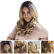 Long Curly Wig Two Tone Black and Golden Ombre Wavy Hair Fibre Synthetic Wigs Heat Resistant