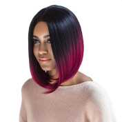 Short Straight Bob Wigs Black and Wine Red Ombre Hair Synthetic Wig Blunt Lob Hairstyle
