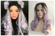 Cupidlovehair Natural Wave Black Ombre Mixed Pink Purple Blue Blonde Colours Synthetic Lace Front Wigs For Women 20 60cm Long Wavy