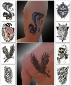 Temporary Tattoos for Guys for Men - Fake Tattoo, Biker Tattoos, Rocker Stickers for Arms Shoulders Chest & Back - Boys Tattoos Body Art Tattoo Sticker Waterproof Large Transfers 8 Sheets
