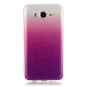 Moonmini Gradient Colour Sparkling Glitter Ultra Slim Fit Soft TPU Phone Back Case Cover for Samsung Galaxy J7 (2015) - Violet
